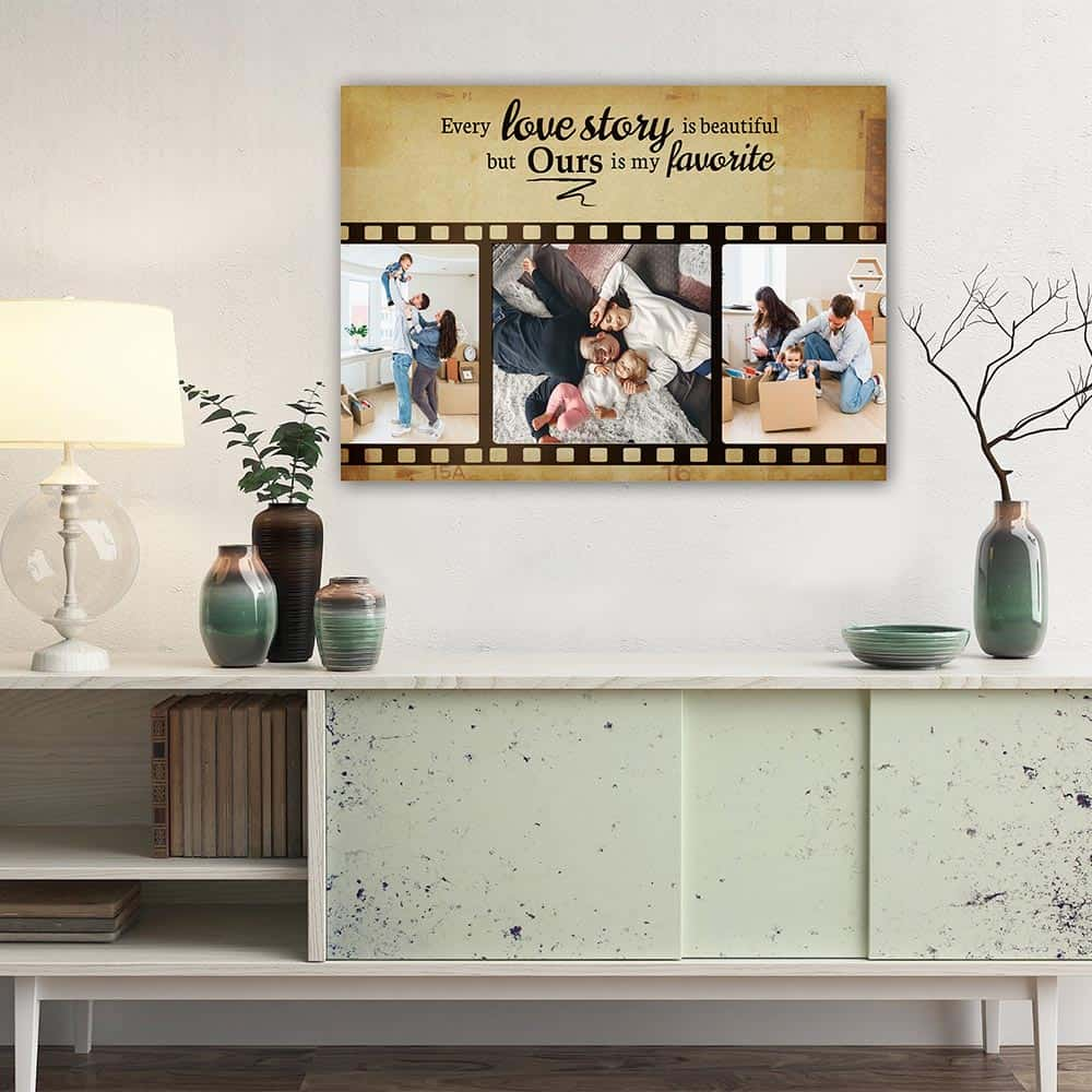 a 24-by-16-inch photo canvas print above the cabinet