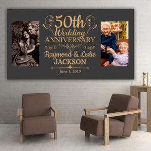 50 year wedding anniversary gift for parents: custom photo canvas print