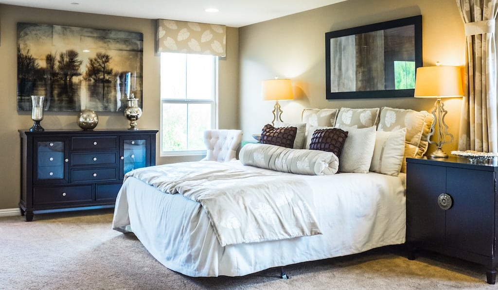 A couple's bedroom fully furnished - wedding registry checklist for bedroom