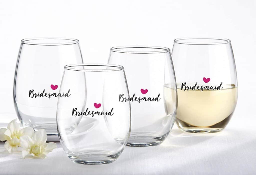 bridesmaids gifts ideas: bridesmaids stemless wine glass
