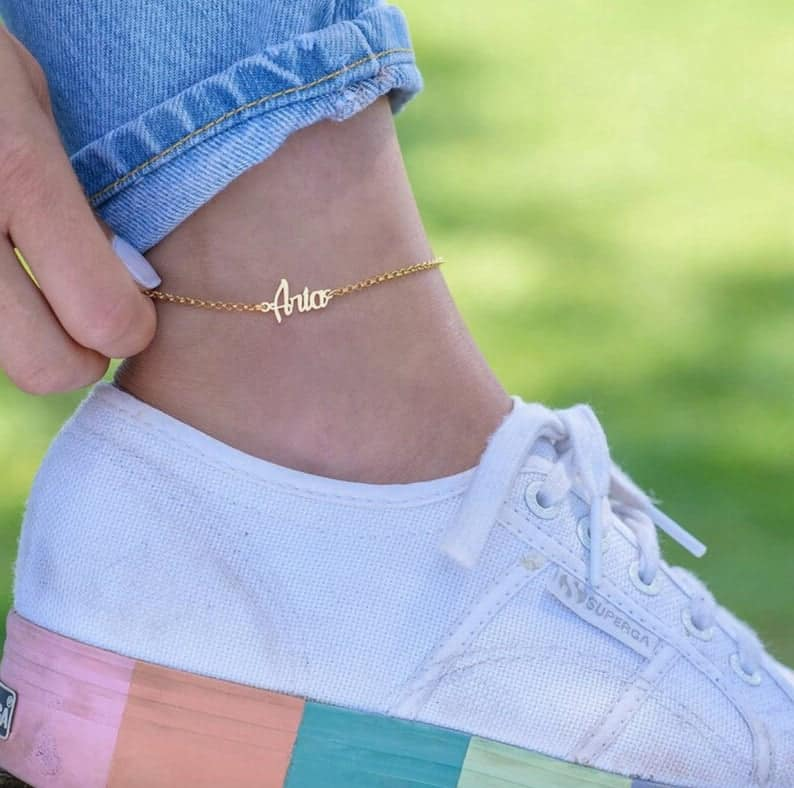 unique bridesmaid gifts: Custom Name Anklet