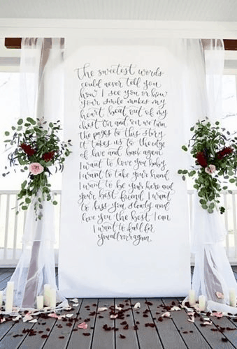wedding backdrop & altar with printed vows