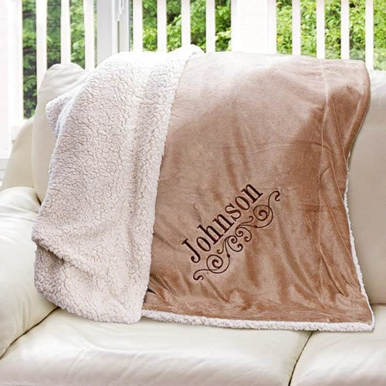 practical bridesmaid gifts: Embroidered Sherpa Blanket