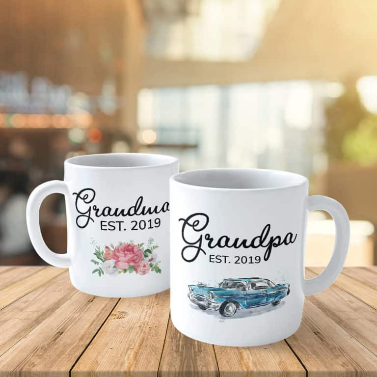 gifts for new grandparents: est year custom mugs
