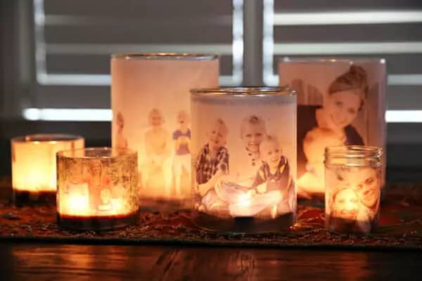 diy gift for grandma: Glowing Photo Luminaries