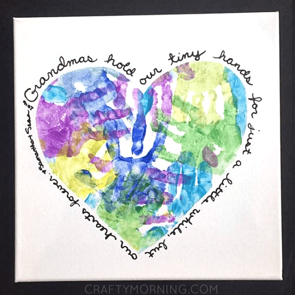 diy gift for grandmother: diy heart handprint canvas