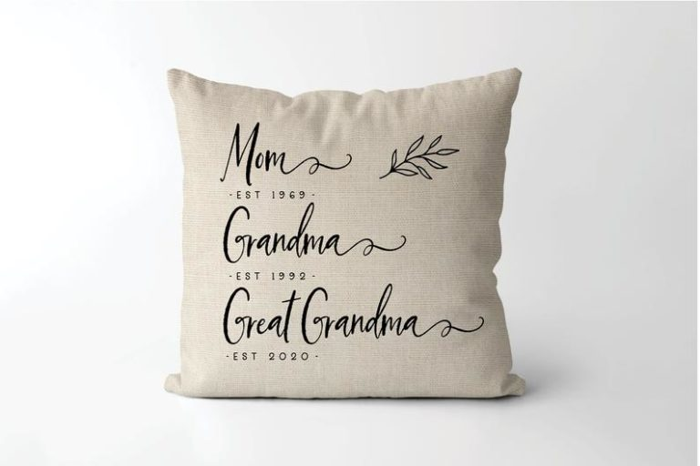 gift for new grandparents: established pillow