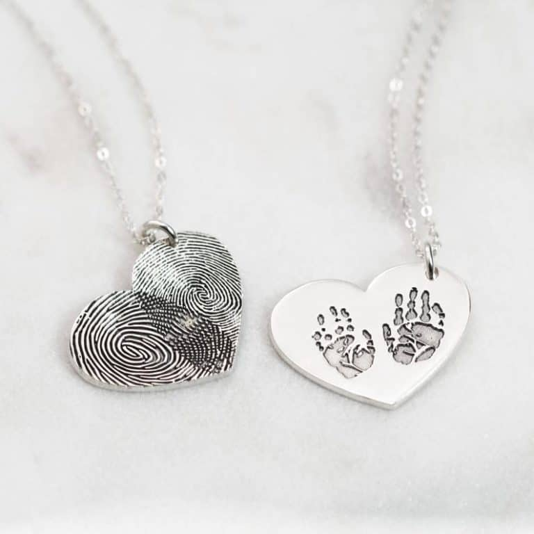gift for grandma: actual engraved fingerprint necklace