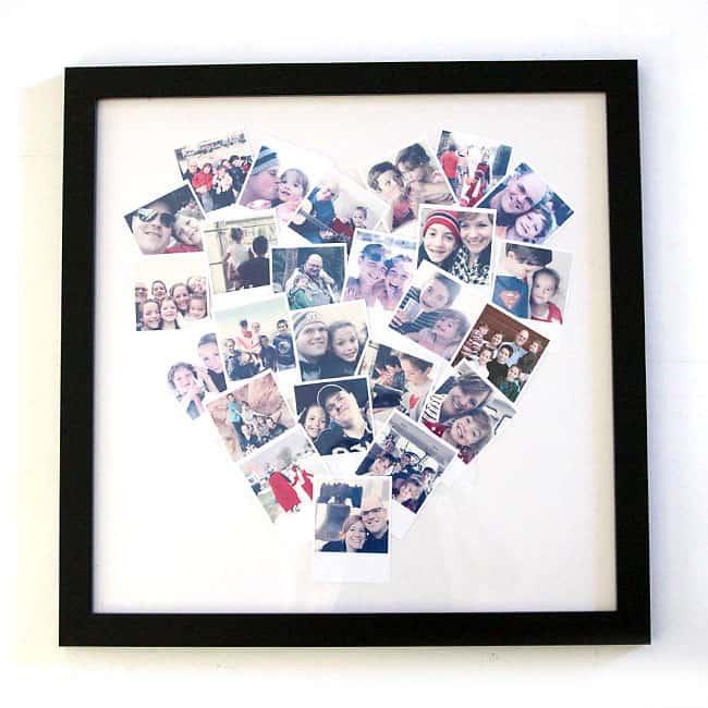 homemade photo gift for grandma: DIY heart shaped photo display