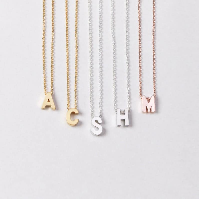 bridesmaid necklace gift: initial necklace