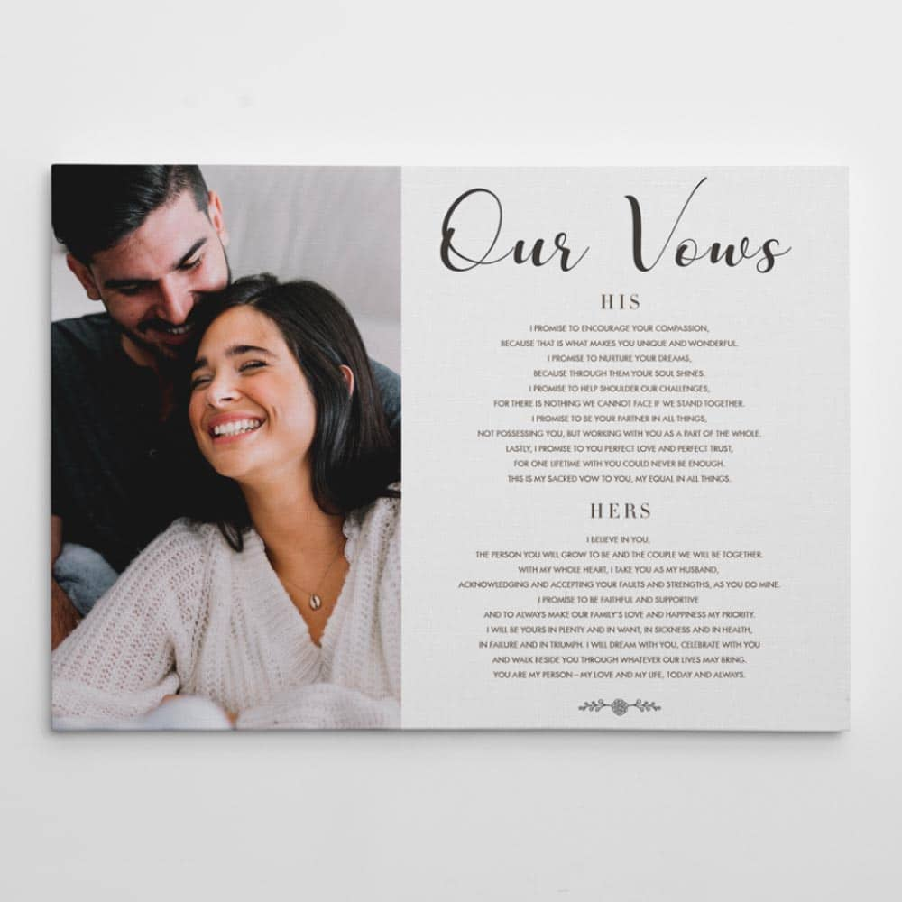 anniversary custom canvas with the wedding vows