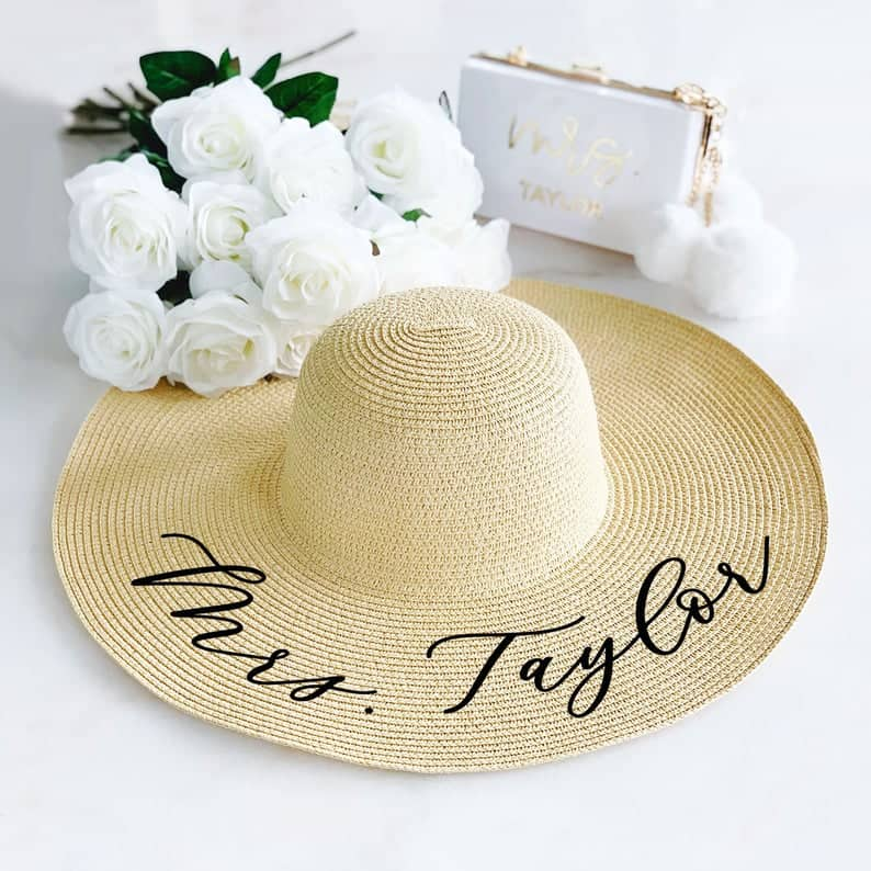 personalized bridesmaid gifts: personalized beach hats