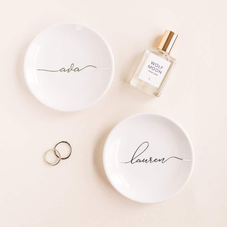 personalized bridesmaid gifts: Personalized Jewelry Dishes