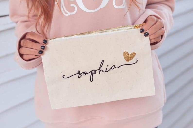 personalized bridesmaid gifts: personalized makeup bag