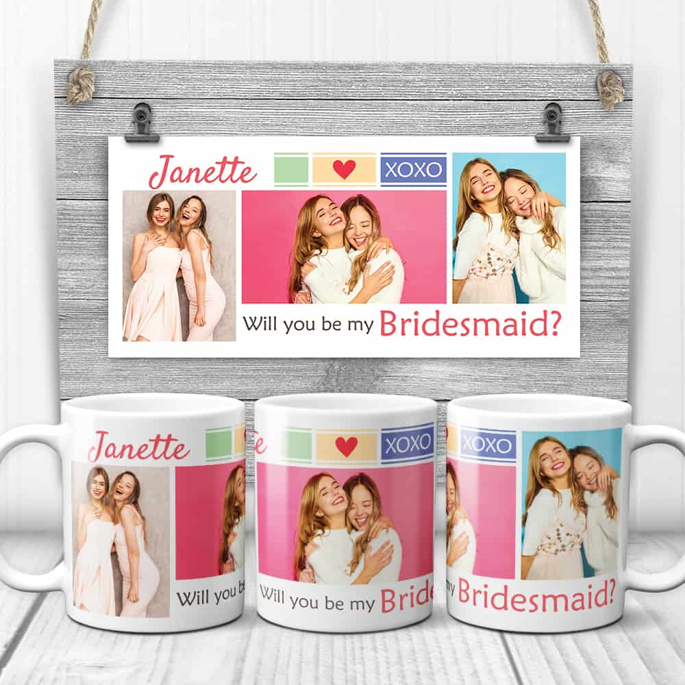 gifts for bridesmaids: Will you be my bridesmaid photo collage mugs
