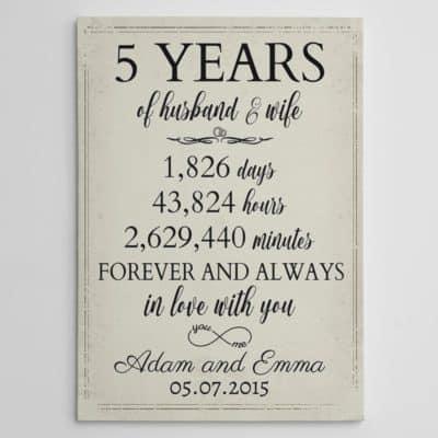 5 year of husband and wife anniversary custom canvas print