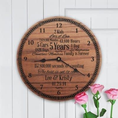 5 year anniversary gift wooden clock