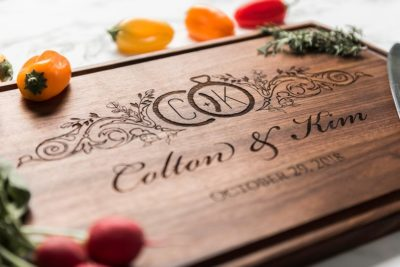 personalized wood cutting board anniversary gift idea