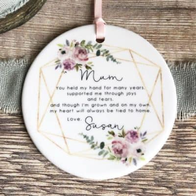 Personalised Mother of Bride Groom Mum you held my hand Quote Floral Ceramic Round Decoration Ornament Wedding Keepsake christmas gift idea for mom