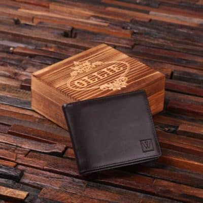 Personalized men wallet gift idea for dad for christmas