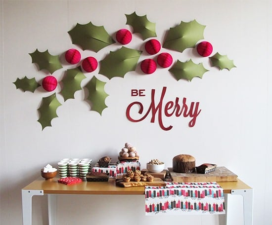 christmas wall decor idea with paper crafted hollies