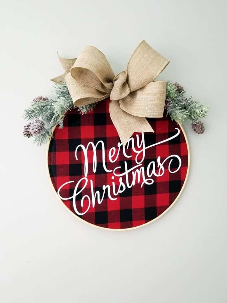 plaid wreath christmas decor