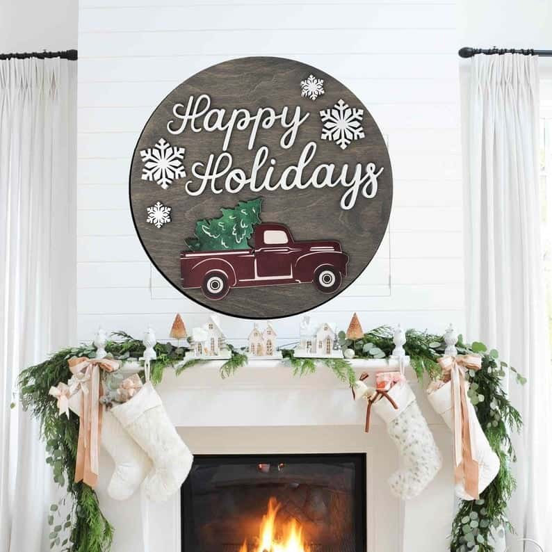 red truck christmas sign wall decor ideas