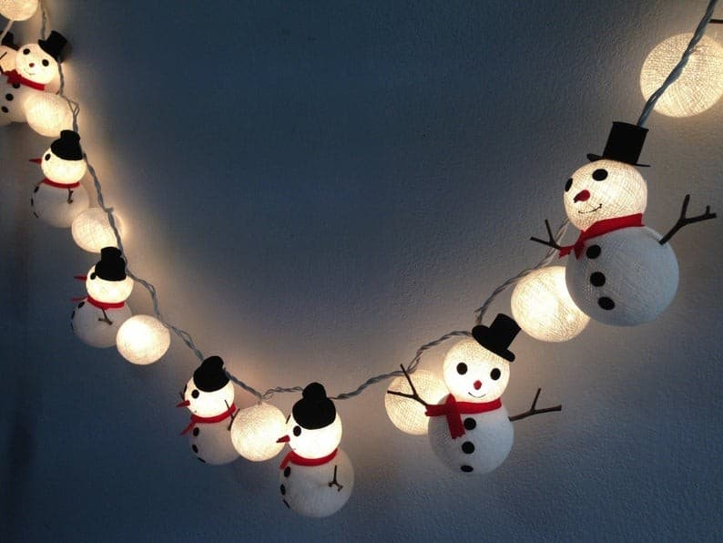 snowballs and snowman light strings