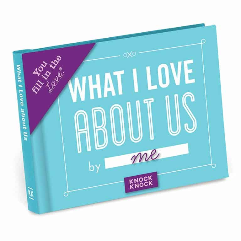 last minute gift idea for him: knock knock what i love about us - fill in the love book