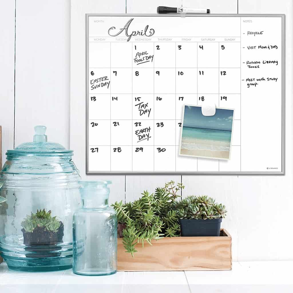 Christmas Gifts for Coworkers - magnetic dry-erase monthly calendar board