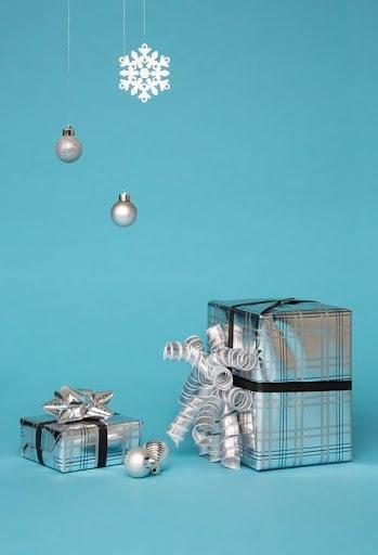 office christmas decor idea silver gift boxes