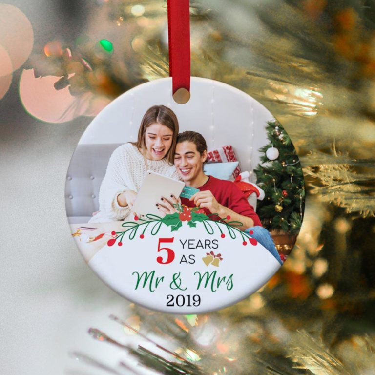 wood anniversary gift for couples: 5 years as mr and mrs photo christmas ornament