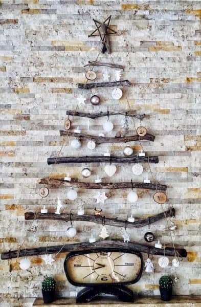 rustic christmas tree decoration on a wall