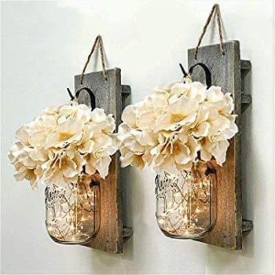 rustic wall decoration idea mason jar with fairy lights and flowers