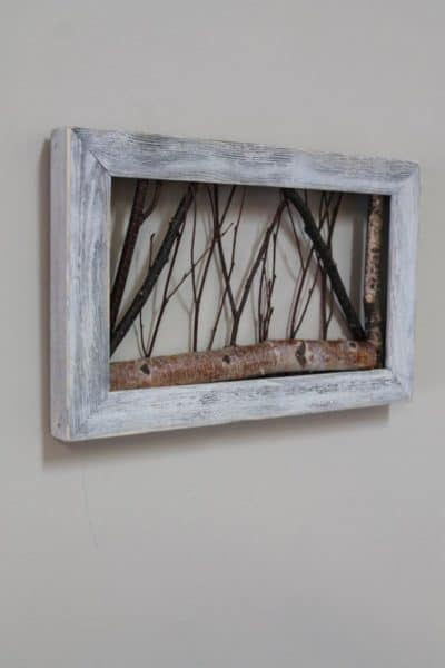 rustic wall decor twigs in photo frame