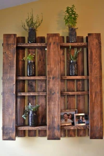 rustic wall decor shelf made of wood palletes