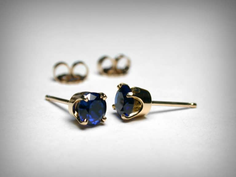 sapphire stud earrings - 5 year anniversary gift for her
