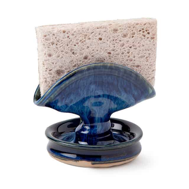 cool gift idea: blue sponge holder with drainer