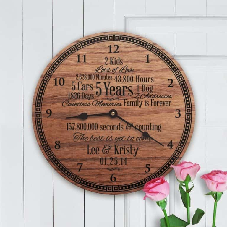 traditional five years wedding anniversary gift: custom wooden clock