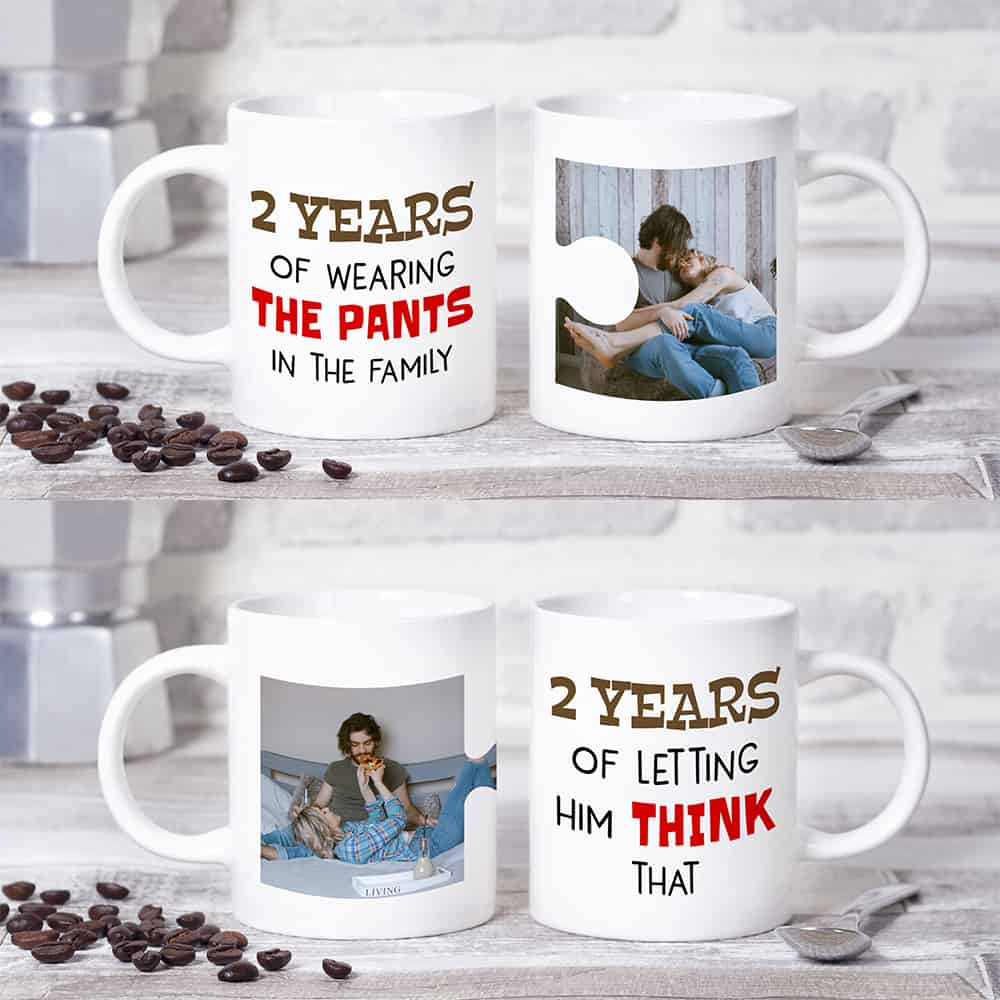 2 years of wearing the pants anniversary mugs