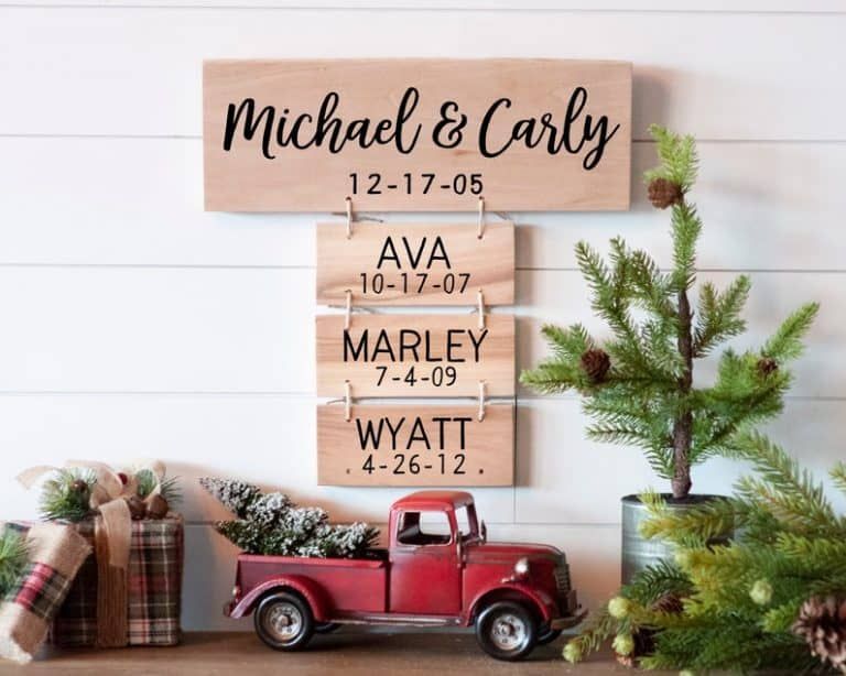 25th wedding anniversary gifts - wooden family sign