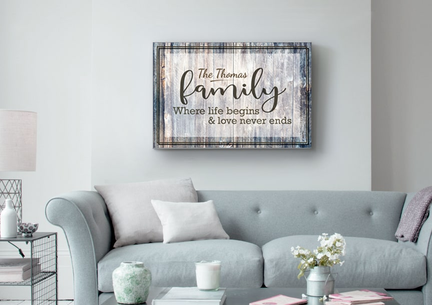 30th anniversary gift-Family Name Sign Canvas