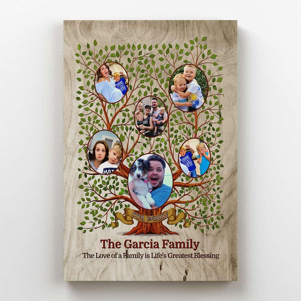30th anniversary gift-Family Tree Custom Photo Canvas