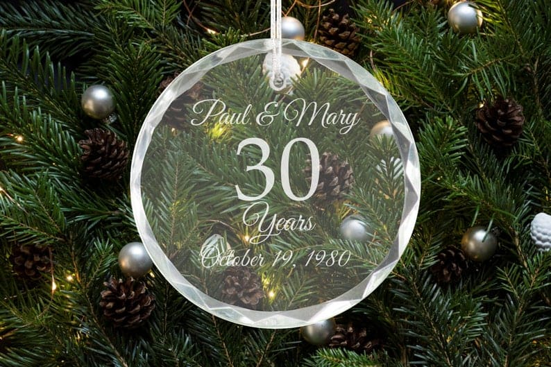 Personalized Crystal Holiday Ornament
