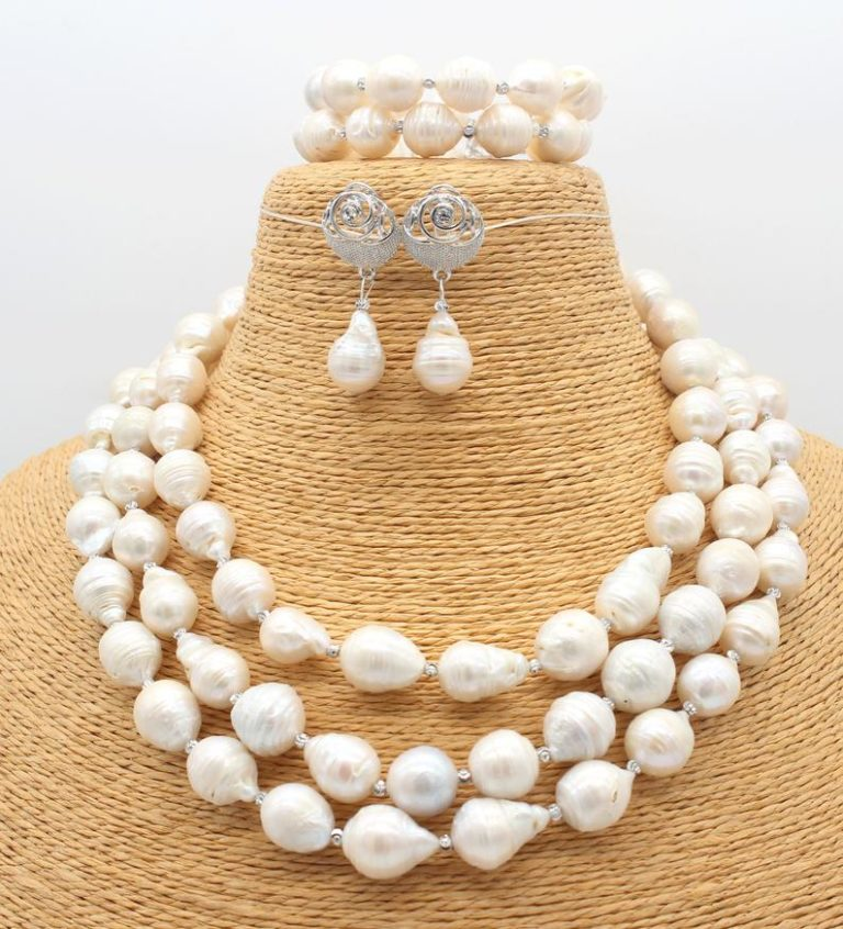 30 years wedding anniversary gift - 3 row white pearl necklace