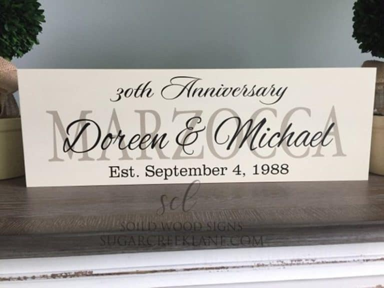30th anniversary gifts - wooden sign