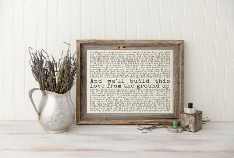 anniversary gifts for husband - wedding song lyrics art