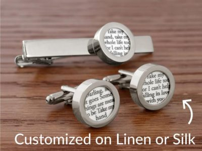 4th anniversary linen gift for him: custom cufflinks with song lyrics on linen