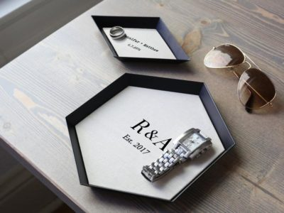 custom & personalized linen tray: wedding anniversary gift ideas for couples