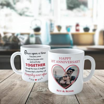 once upon a time custom photo mugs - anniversary gift idea